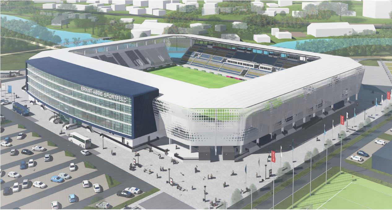 Rendering und 3D Ansicht des zukünftigen Ernst-Abbe-Stadions in Jena